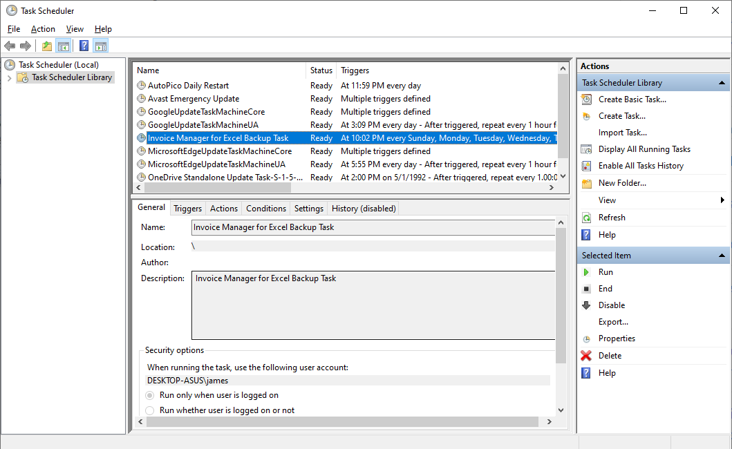 The Windows Task Scheduler utilized by Invoice Manager for Excel Backup Scheduler