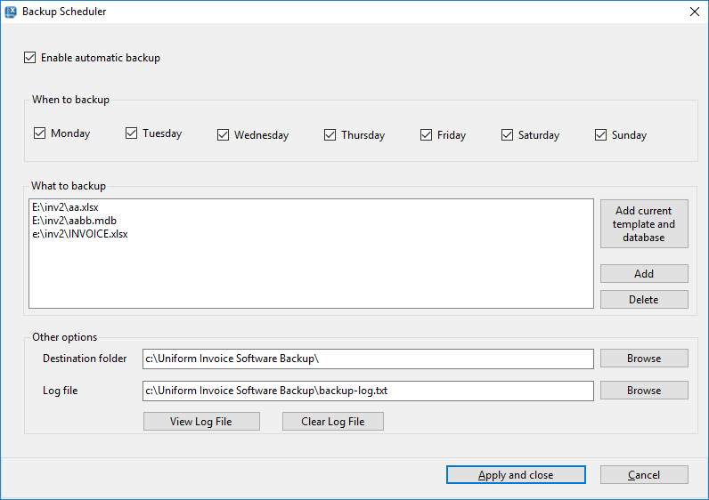 Backup Scheduler dialog box in Invoice Manager for Excel
