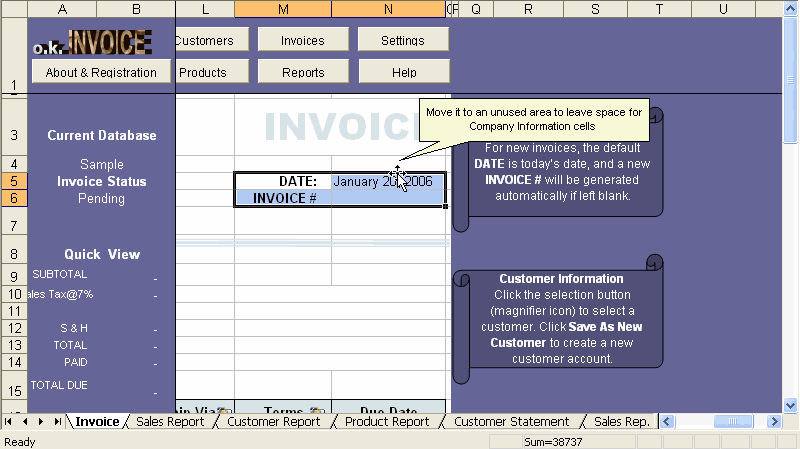 Customizing Excel template step 2