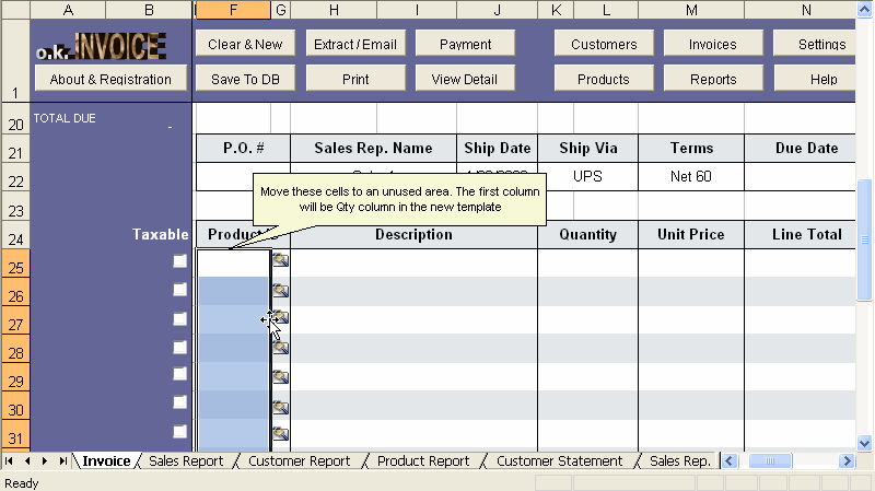 Customizing Excel template step 3