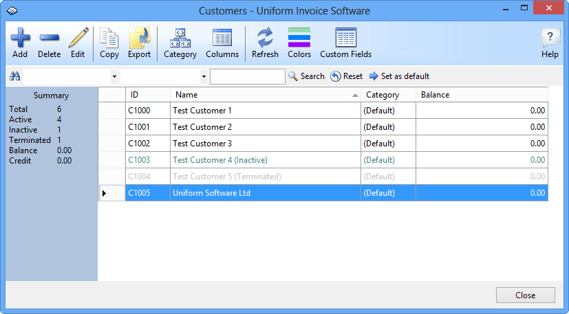 The Customers data list window