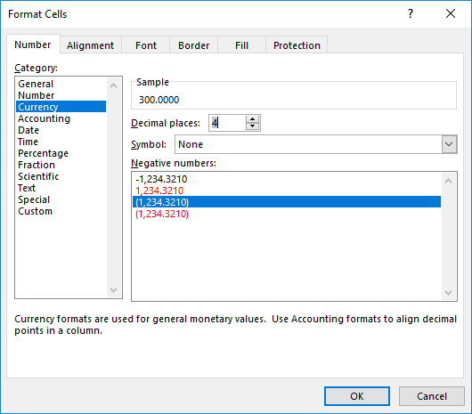 Set cell format dialog box