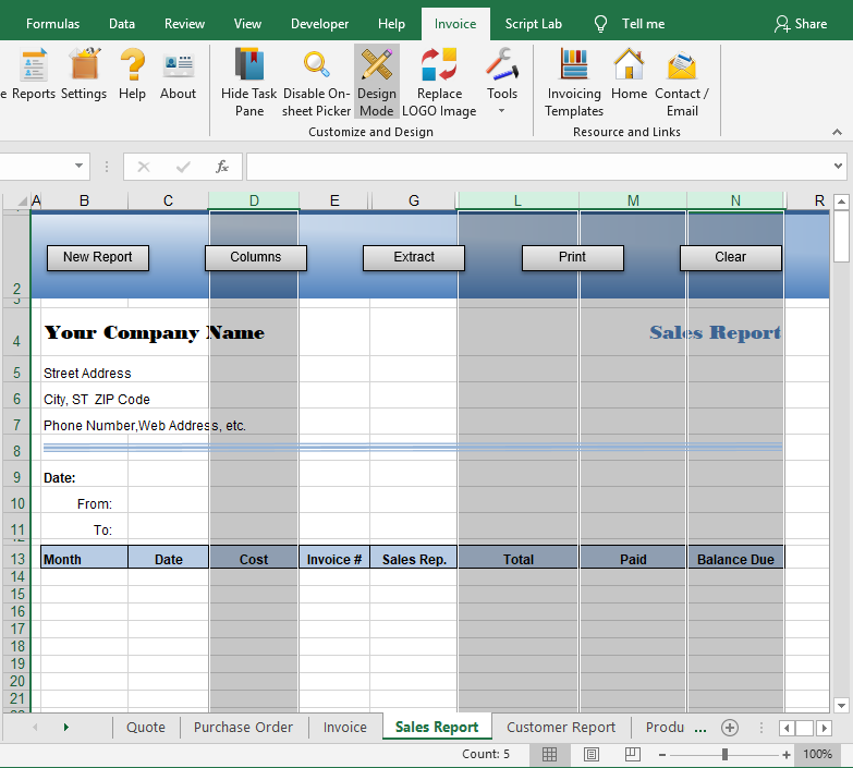 Set column format for reports