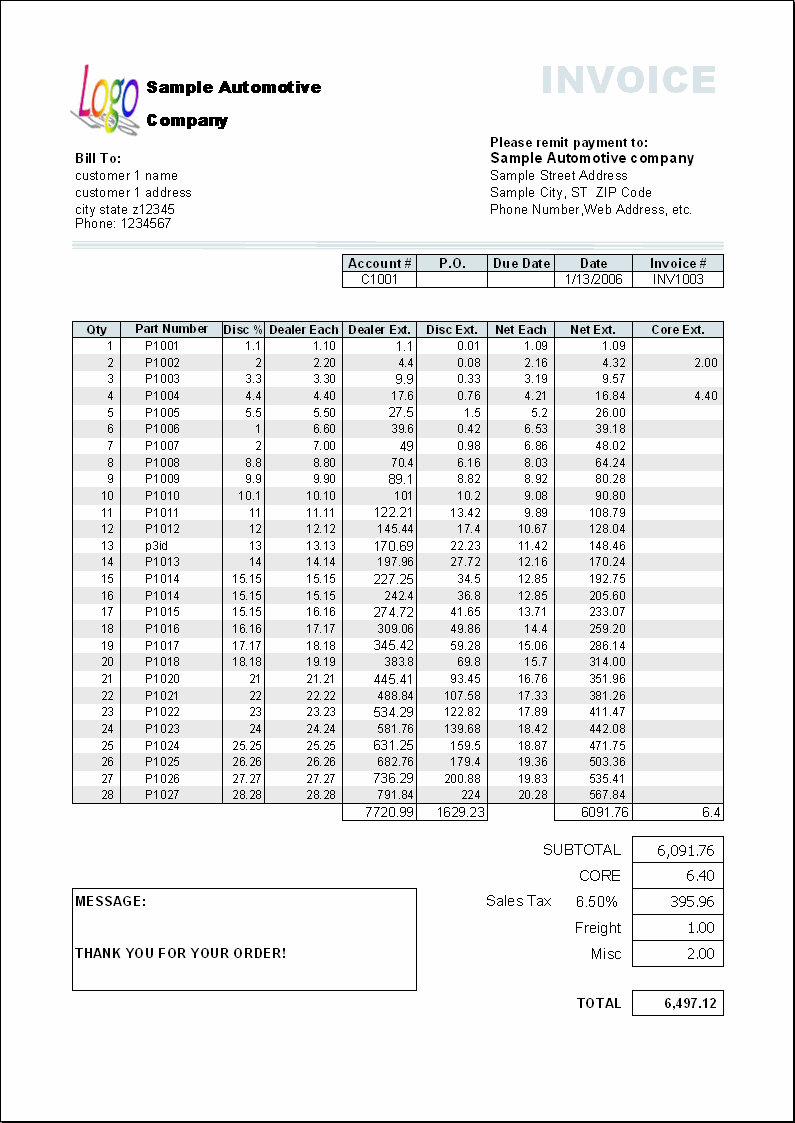 The print result of Excel Invoice Manager automotive template