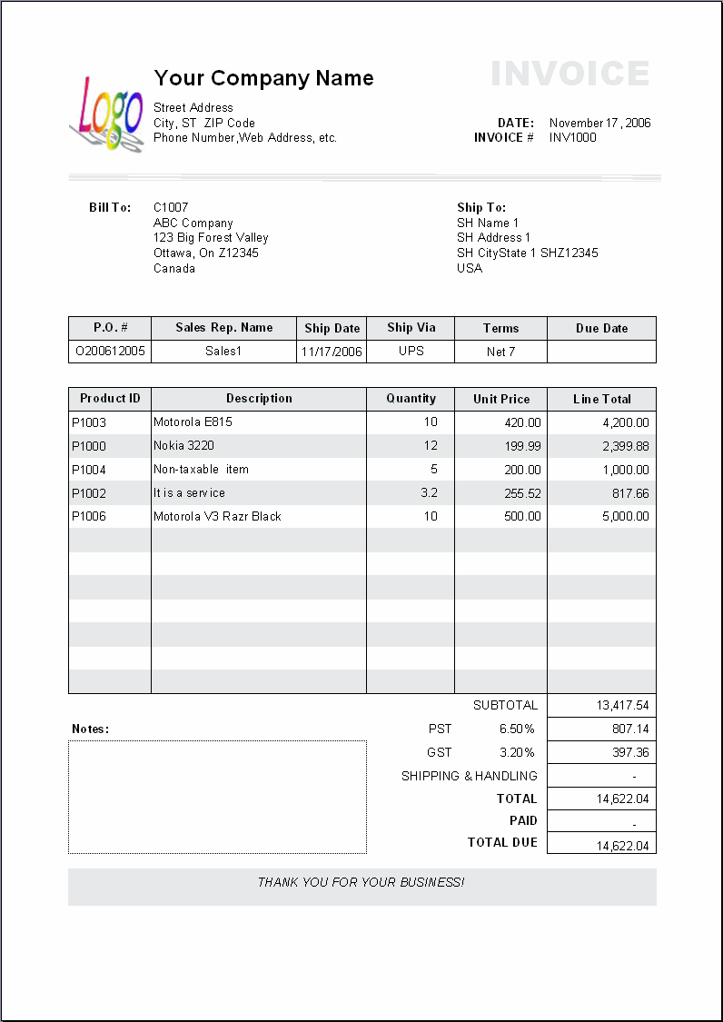 The print result of Excel Invoice Manager default invoice template