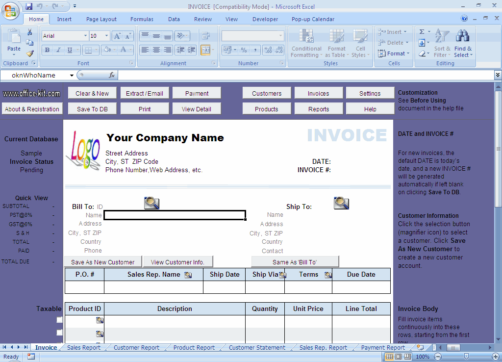 Excel 2003 Invoice Template