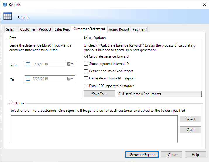 Email statement and aging report to customer (the Reports window)