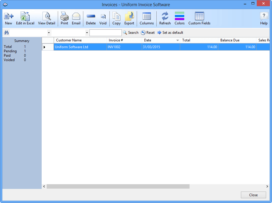 An example of a data list window