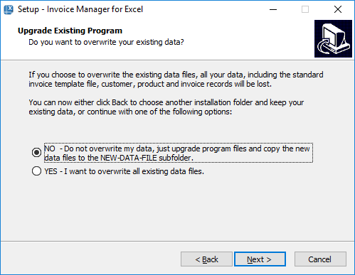 Invoice Manager for Excel: setup program in upgrade mode