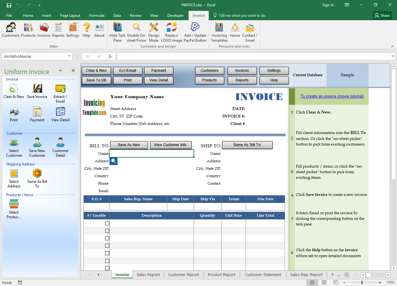 The default Invoice worksheet
