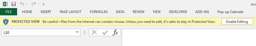 Excel shows 'protected view' warning message