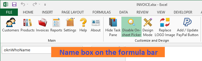 Formula bar and name box